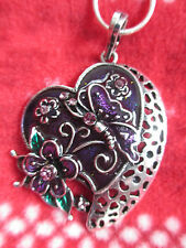 Enamel & Crystals -New 033-Lovely Silver Heart Necklace-Purple