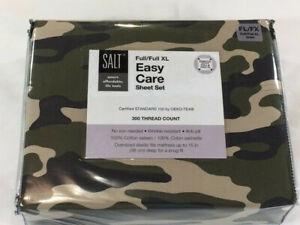 SALT Full / Full XL Easy Care Sheet Set - Green Camouflage