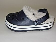 Crocband Mammoth Navy Blue/Oatmeal Lined Crocs Little Boys Size  8/9
