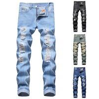 Mode Hommes Classique Jean Déchiré Pantalon Skinny Droit Slim Pantalon Jeans