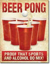 BEER PONG Proof That Sports And Alcohol Do Mix TIN SIGN Metal Poster Wall Decor