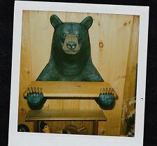 Carved Wood Black Bear Shelf Carving Sculpture Art Animal Rustic Wildlife Forest