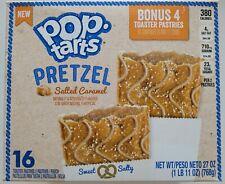 NEW KELLOGG'S POP TARTS PRETZEL SALTED CARAMEL 27 OZ BOX 16 TOASTER PASTRIES