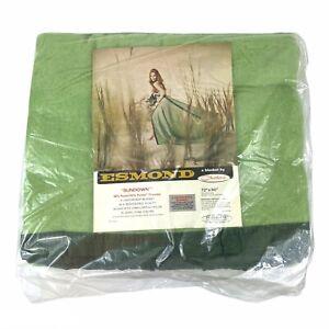 """Vintage Esmond 'Sundown' Chatham Blanket Green Satin Trim 72"""" x 90"""" Twin Double"""