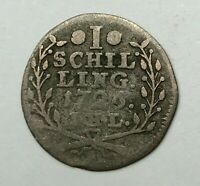 Dated : 1726 - Silver Coin - German States - 1 Schilling - Hamburg