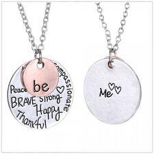 Letter Brave Be Happy Love Heart Silver Chain Necklace Pendants Women's Jewelry