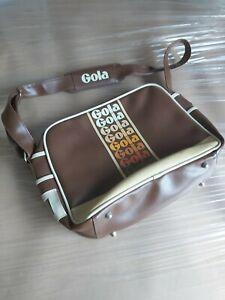 retro / classic THEMED GOLA MESSENGER SHOULDER BROWN PLASTIC LEATHER BAG