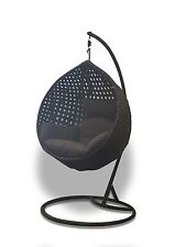Outdoor Hanging Nest Chair - Black Basket with Dark Grey Cushion