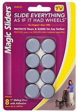 Magic Sliders Plastic Floor Slide Gray Round 1 in. W 8 pk Self Adhesive