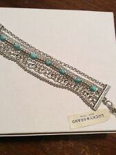 Lucky Brand Jewelry, Mixed Chain Silver Tone Bracelet With Turquoise $29.50 #100
