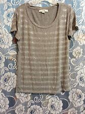 Womens S Small Forever XXI Gray Grey Silver Stud Short Sleeve T Tee Shirt Top