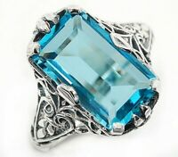 10CT Aquamarine 925 Solid Sterling Silver Nouveau Style Ring Jewelry Sz 9, PR39