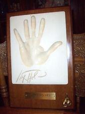 Rare Boxer Larry Holmes Plaster Cast Hand Print and Autograph Plaque Collectible