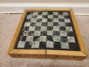 Vintage Chess/Checkers Board Black/White Artistic Wooden Foldable