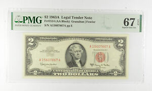 1963-A $2 FR1514 (AA Block) Red Seal Graded PMG - 67 EPQ Legal Tender *808