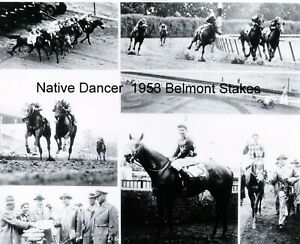 """1953 - NATIVE DANCER - 6 Photo Belmont Stakes Composite - 10"""" x 8"""""""