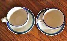 OCEAN BREEZE 2 COFFEE TEA CUPS SAUCERS White Blue & Green Stoneware Pfaltzgraff