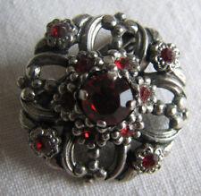 Trachtenschmuck hübsche alte Brosche silberfarben mit roten Steinen
