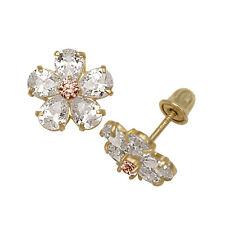 Baby Girl's Alexandrite & Created Diamond Flower Stud Earrings 14K Yellow Gold