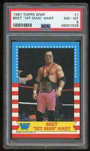 "1987 Topps WWF BRET ""HIT MAN"" HART Wrestling ROOKIE Card #1 * PSA 8 NM-MT * WWE"