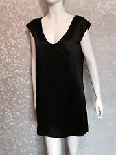 French Connection Silk Black Satin Shift Dress Uk 8