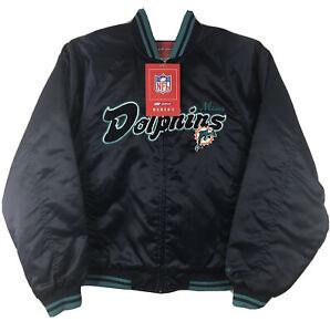 Women's Vintage NFL Reebok Miami Dolphins Satin Zip-up NAVY Jacket MEDIUM NWT