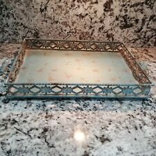 Shabby Cottage Large Serving Tray Teal  Metal 2 Handle Flower 14 by 11