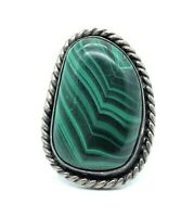 Vintage 1960's Navajo Sterling Silver & Malachite Ring