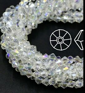 2mm 100 Beautiful Clear White AB Pearl Crystals Quality A++++ Bicone Glass Beads