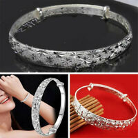 Women 925 Silver Plated Crystal Chain Bangle Cuff Charm Bracelet Jewelry new