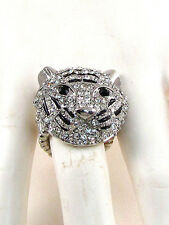 Silver Toned Clear Rhinestone and Black Tiger Stretch Ring