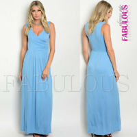 New Sleeveless Long Maxi Dress Wrap Look Summer Casual Party Size 6 8 10 XS S M