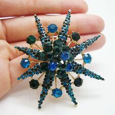 Vintage Snowflake Pendant Green Rhinestone Crystal Woman Brooch Pin Flower
