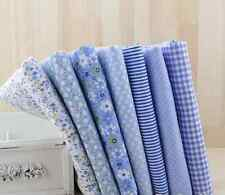 7 pieces BUNDLE blue COTTON FABRIC SMALL FLORAL STRIPE Joblot Mixed Craft