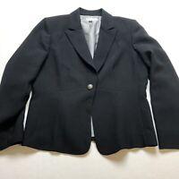 Arthur Tahari Black One Button Blazer Jacket Womens Size 12 A346
