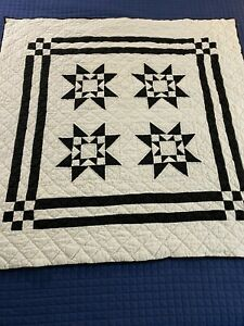 Stunning Vintage Hand Crafted & Quilted Eight Hands Round Quilt 46x46 #140