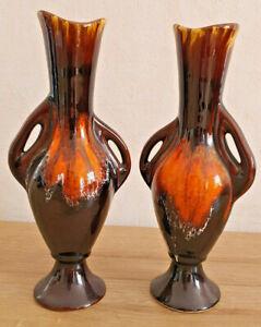 Antique Pair Of Bud Style Vallauris Brown Gradient Orange Deco