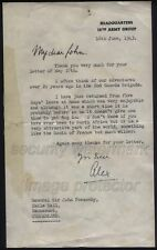 WWII 1943 Field Marshal Harold Alexander, H.Q. 18th Army to General Ponsonby