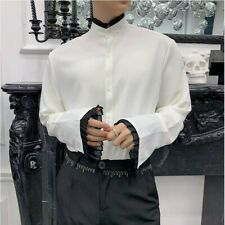 Mens Loose Fit Long Sleeve Casual T-shirts Stand Collar Button-front Tops tee