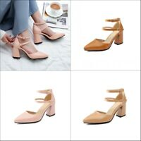 Women Ankle Strap Block High Heels Pointed Toe Buckle Pumps Sandals Casual Shoes