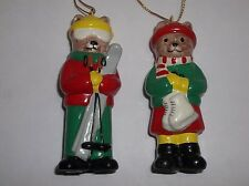 Vintage 1982 Midwest Of Cannon Falls Christmas TEDDY BEAR Ornaments Set Of 2