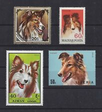 Dog Postage Stamp Collection Art Head Studies Rough Coated Collie 4 x Mnh