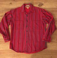 Vintage JC Penney St John's Bay BIG MAC Red Striped Plaid Flannel Shirt Mens M