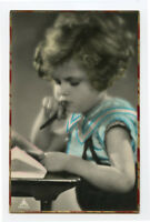 c 1930 Child Children Cute PENSIVE GIRL Deep Thought French photo postcard