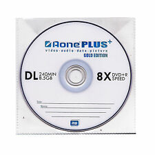 5 Aone Gold Edition Double Layer DVD+R DL 8X 8.5GB Disc Branded In Sleeves