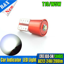 1x T10 W5W CREE 1 LED Car Dash Side Indicator Light Blubs White AC12-24V 200LM