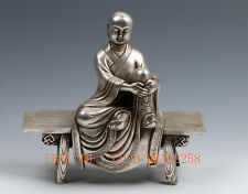 Chinese Ancient Handwork Carved Silver Copper Statue Buddha Sitting Bench