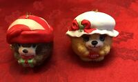 Vintage 2 Jasco Porcelain Dog Bell Christmas Tree Ornaments