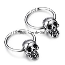 One Pair Gothic Skull Punk Rock Men's Women's Stainless Steel Hoop Earrings