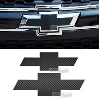 Front Rear Black Carbon Bowtie Emblem Decal Sticker For Chevy 2011-2018 Captiva